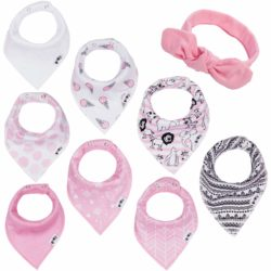 BooBooJr Baby Bandana Drool Bibs for Girls with Headband Included | 8 Infant Bibs Set for Teething, Drooling with Extra Soft Cotton to Avoid Drool Rashes