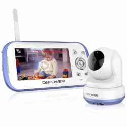DBPOWER Digital Sound Activated Video Record Baby Monitor with 4.3-Inch Color LCD Screen, Remote Camera Pan-Tilt-Zoom