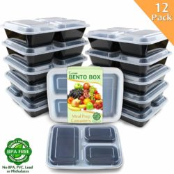 Enther Meal Prep Containers [12 Pack] 3 Compartment with Lids, Food Storage Bento Box | BPA Free | Stackable | Reusable Lunch Boxes