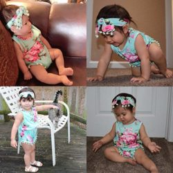 Hollyhorse 2pcs Baby Girl Clothes Newborn Floral Baby Girl Rompers, Dresses , Outfits Headband
