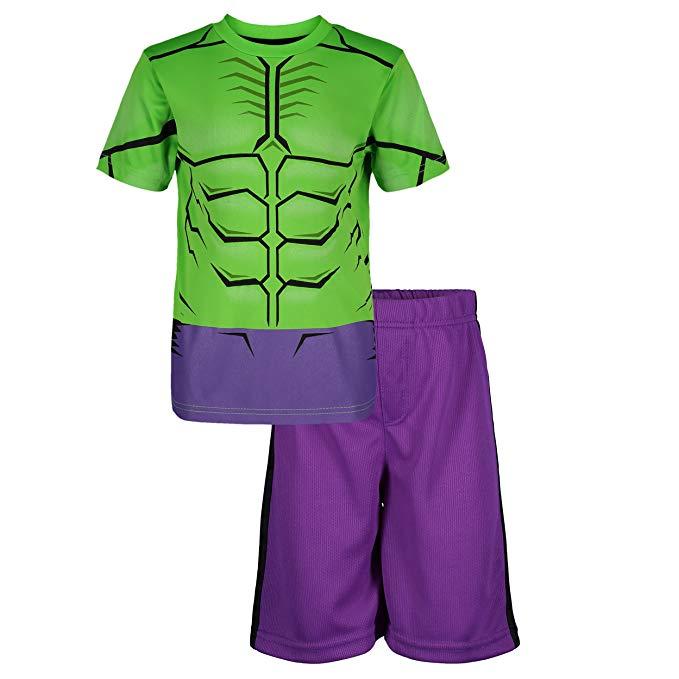 e8d3a9e6 Marvel Avengers Black Panther & Hulk Boys' Athletic T-Shirt & Mesh Shorts  Set