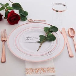 120 pieces Rose Gold Disposable Plastic Plates-Rose Gold rim Wedding Party Plates,Premium Heavy Duty 60-10.25 Dinner Plates and 60-7.5
