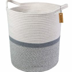 Goodpick Large Cotton Rope Basket -Baby Laundry Basket Tall Woven Basket Blanket Nursery Bin