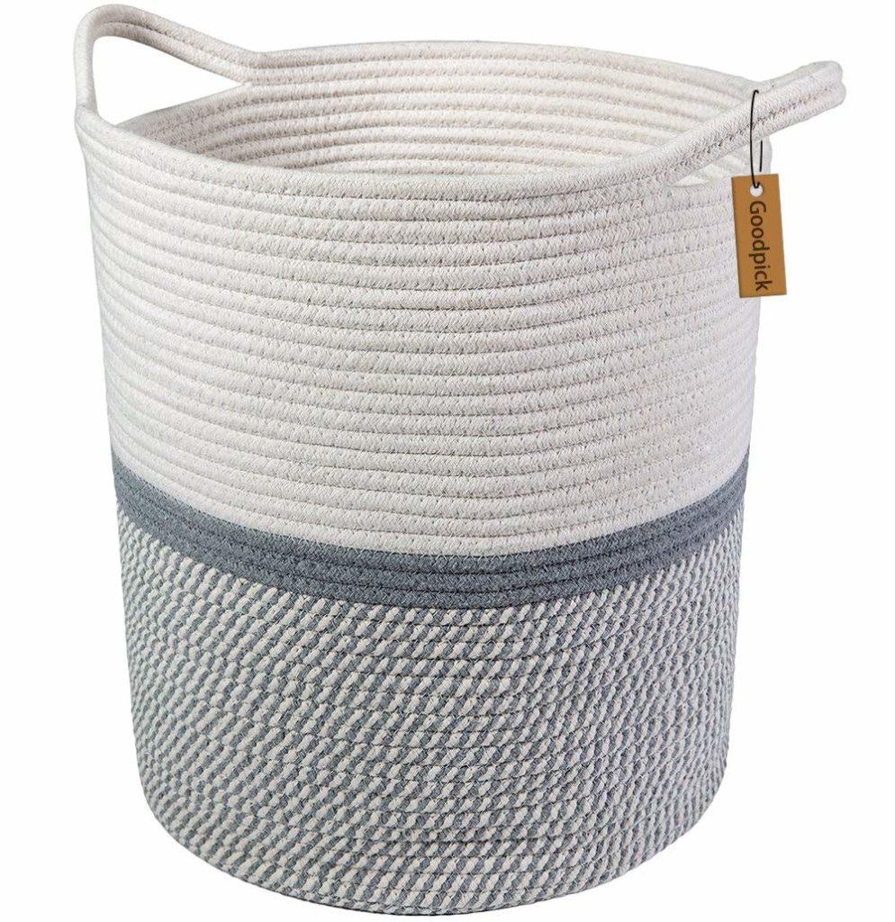 Goodpick Large Cotton Rope Basket -Baby Laundry Basket Tall Woven Basket Blanket Nursery Bin