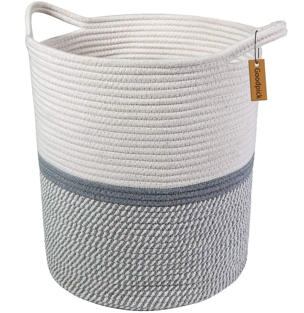 Amazon: Goodpick Large Cotton Rope Basket -Baby Laundry ...