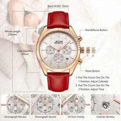 JEDIR Women Fashion Chronograph Quartz Watch Analog Unique Dial with Calendar Round Metal Case Leather Strap