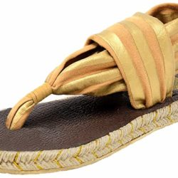 Nalho Women's Yoga Mat Memory Foam Espadrilles Sandals, Ganika Metallic
