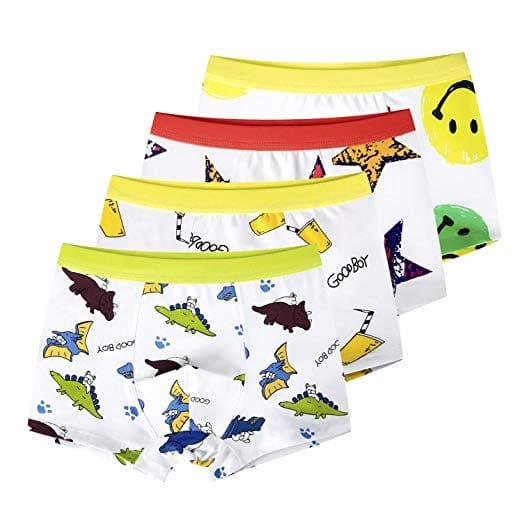 slaixiu Soft Cotton Kids Underwear Cartoon Boys Boxers 4-Pack
